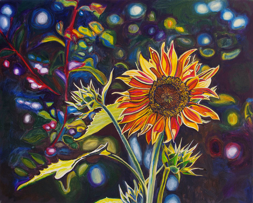 VOLUNTEER SUNFLOWER • 16 inches x 20 inches • ©2012 Marie Scott
